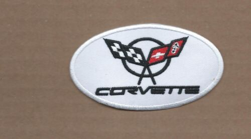 """CHEVROLET CORVETTE/"""" WHITE /& BLACK  EMBROIDERED IRON ON PATCHES  2 X 3"""