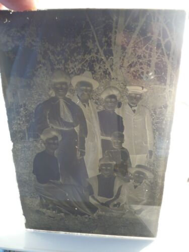 Antique Glass Plate Photo Negative Country Family Scene 8 People Child 4 x 6 1/2