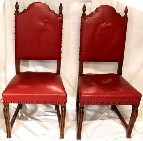 Antique Red Leather & Brass High Back Tiger Oak Chairs, Set of Two