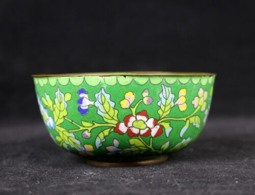 """Antique Chinese Green Cloisonne Floral Flower Bowl ,4""""D Late Qing/ Republic"""