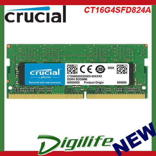 Crucial 16GB 1x16GB SO-DIMM DDR4 2400Mhz PC4-19200 Laptop Memory CT16G4SFD824A