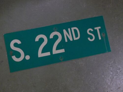 "Vintage ORIGINAL S. 22ND ST Street Sign 24' X 9"" White on Green"