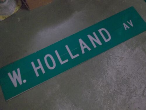 "LARGE Original W HOLLAND AV Double-Sided Street Sign 60"" X 12"" White on Green"