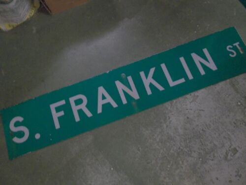 "LARGE Original S. FRANKLIN ST Street Sign 60"" X 12"" White on Green"
