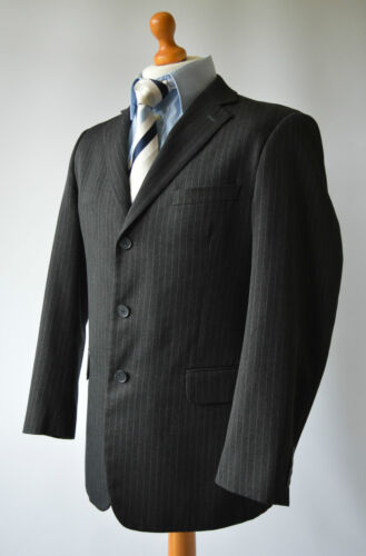 "Men's Dark Grey Pinstriped Taylor & Wright Suit, Jacket 40"", W 34"" L 28""."