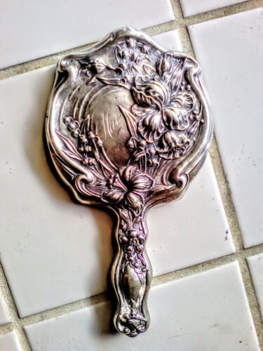 Art Nouveau Hand Mirror Sterling silver 925 1900s French Repoussee antique