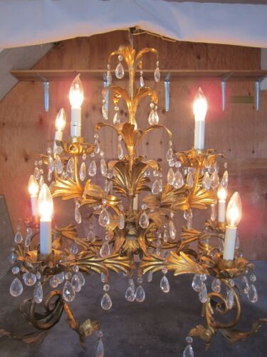 Italian Tole French Gilt Crystal Prisms Hollywood Regency Chandelier~U PICK UP