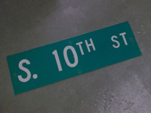 "Vintage Original S. 10TH ST  Street Sign 30"" X 9"" ~ White on Green"