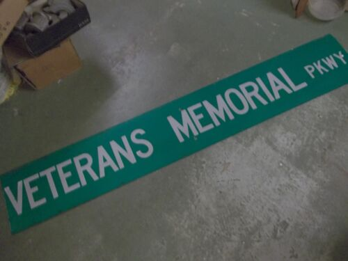 LARGE Original VETERANS MEMORIAL PKWY Double Street Sign 72 X 12 White on Green