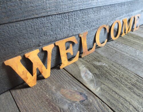 Lot of 3 Sets Primitive Rusty Letters Spelling WELCOME Rustic Country Tin Sign