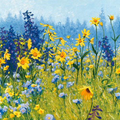 Joyful in July III by Shirley Novak, Floral Art Print or Stretched Canvas
