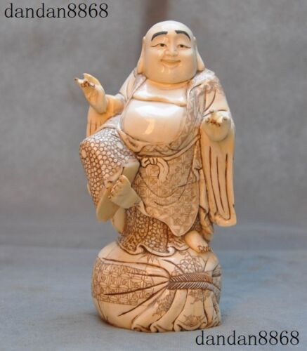 "7""Chinese Old Cattle Bone Hand carved Auspicious Laughter Maitreya Buddha Statue"