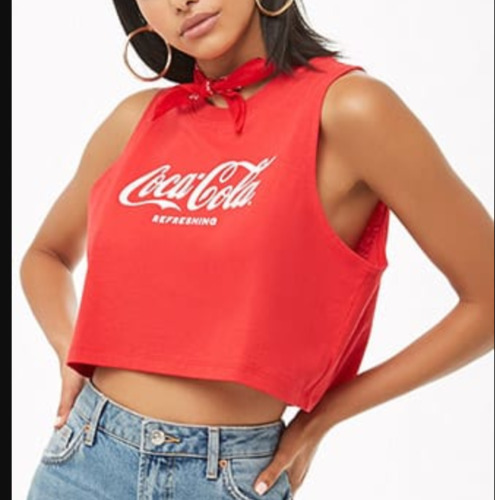 COCA-COLA GRAPHIC CROPPED TANK TOP RED/WHITE-BNWT