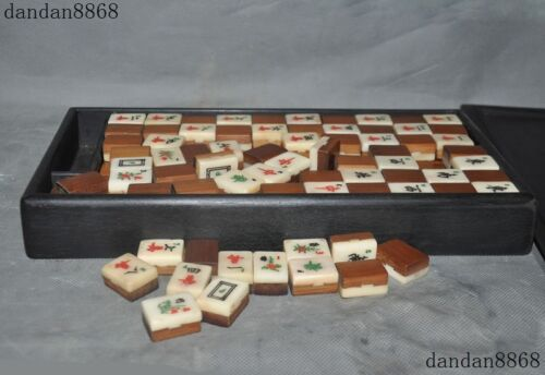 Old China Rosewood Bamboo Cattle Bone Mahjong Chinese Traditional Mahjong Games