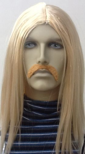 BLONDE LONG STRAIGHT HIPPY STYLE MEN'S FANCY DRESS WIG & DROOP MOUSTACHE.