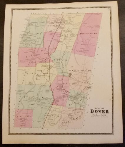 NY Map DUTCHESS Co, Antique  1867 DOVER, CHESTNUT RIDGE, JEWETT DISTRICT