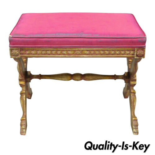 Early 20th Century Pink Distress Painted Italian Regency X-Frame Hoof Foot Stool