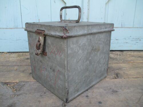 PANTRY BOX vintage STRONG BOX -  GALVANIZED metal INDUSTRIAL