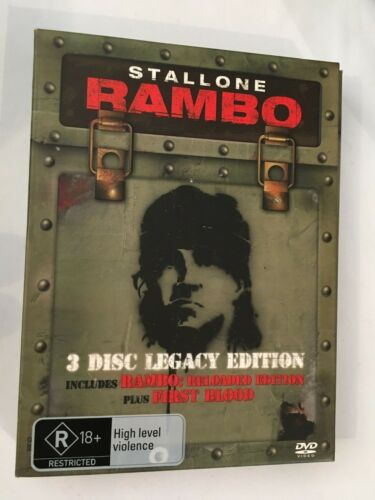 STALLONE RAMBO - DVD 3 DISC FATBOX LEGACY EDITION - VGC - R4 - INC FIRST BLOOD