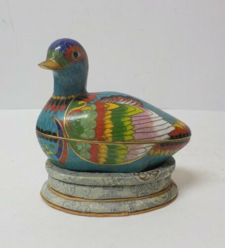 Vintage Novelty Cloisonne Enamel on Brass Mandarin Duck Box (#3)
