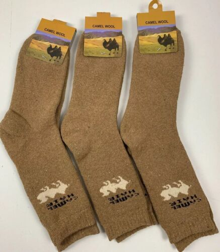 X3 PAIRS Wool Socks Camel Soft Warm XXXL ONE SIZE Mongolia Winter Camping Skiing