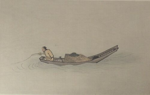 Woodblock Print, Angler on a Wintry Lake, after Ma Yuan, Early 20th century