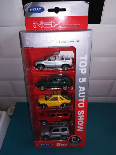 1/60 coffret 5 voitures WELLY nex BMW x5 touareg land rover hummer H3 mitsubishi