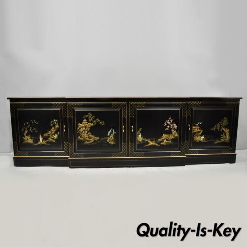 "Vtg Oriental Hand Painted 90"" Long Black Lacquer Japanned Low Credenza Cabinet"