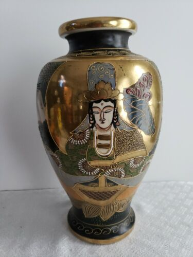 Vintage Satsuma Vase - Hand Painted with Gold Gilt and Moriage - UNUSUAL FIND