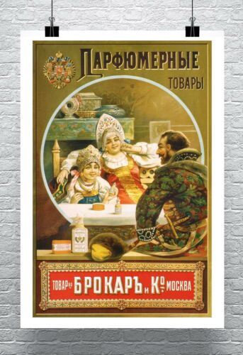 Russian Perfume 1898 Antique Poster Cotton Canvas Giclee Print 24x34 in.