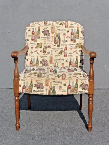 Vintage Accent Arm Chair French Country  w/ Wine Bottles & Wine Glasses Fabric