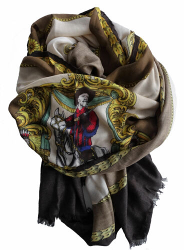 Sciarpa Foulard Scarf VERSACE Made in Italy Donna Woman Multicolore fantasia Cow