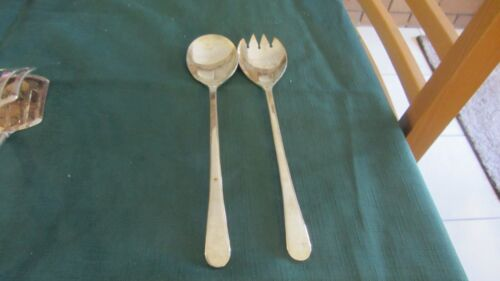 Made in England Queen Anne Silver Plate Serving Salad Set Spoon And Fork