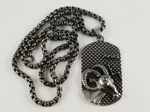 Stainless Steel Aries star sign pendant and necklace chain biker zodiac