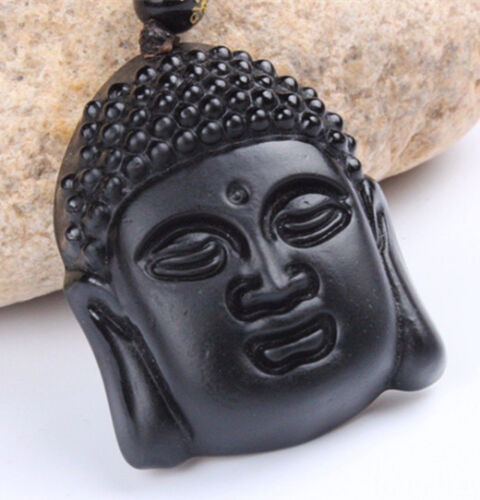 Natural Obsidian Chinese hand carved Jade pendant Buddha head necklace pendant
