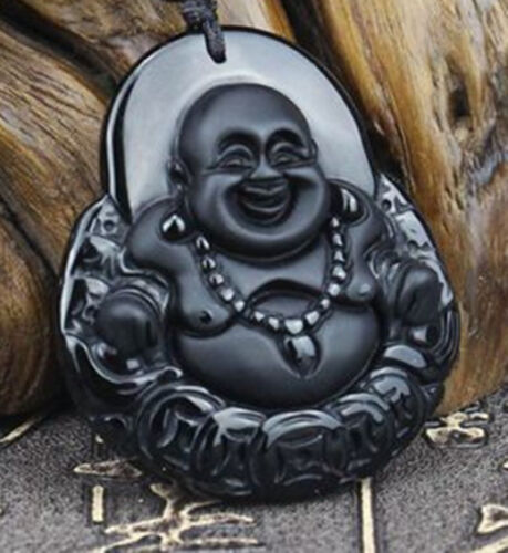 Natural Obsidian Chinese hand carved jade pendant money Buddha necklace pendant