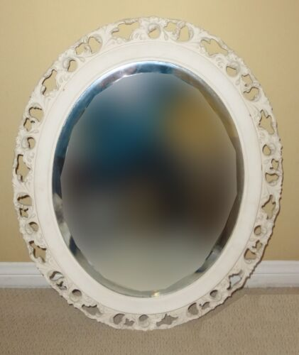 Vintage French Country White Painted Floral Design Oval Wall Mirror