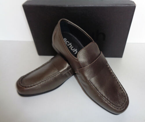 Schuh Mens Smooth Leather Bronze Slip On Casual Formal Shoes New UK Size 10