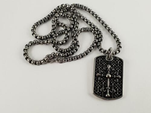 Stainless Steel masonic style cross pendant and necklace 60cm chain knight