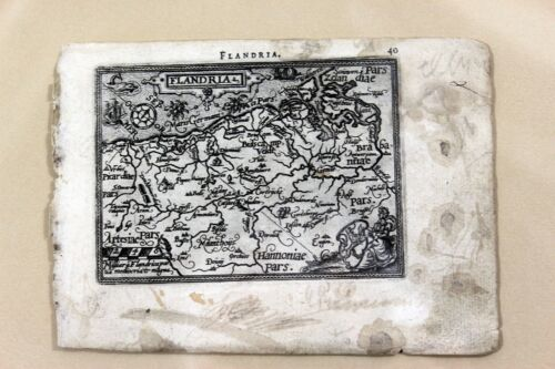 Original Antique Map of FLANDERS by ORTELIUS circa 1600 Early Copper Engraving