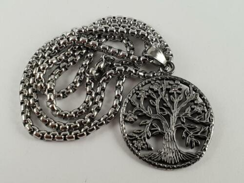 Stainless Steel Tree of life pendant and necklace 60cm chain hippy bling