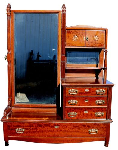 Arts & Crafts Handcrafted Maple Cheval Dresser w/ Beveled Mirrors, c. 1920s