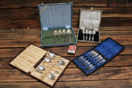 Vintage Cased Silver Plate Cutlery Teaspoon Cake Fork Box Canteen