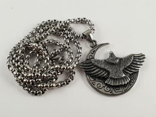 Stainless Steel Eagle on a crest moon pendant and necklace 60cm chain biker