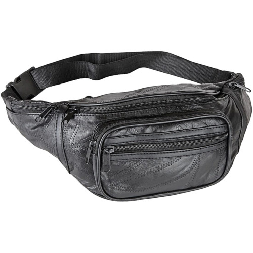 d22b6fcb00fa Black Genuine Leather FANNY PACK Waist Bag Travel Purse Hip Belt Carry On  Pouch