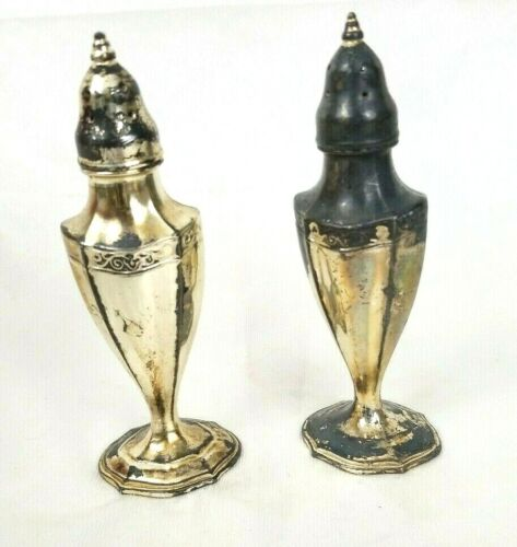 Vintage Silver Plated Pewter Salt and Pepper Shakers Made in USA - SPC - 149