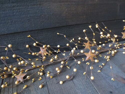 """Lot of 2 Country Golden Tan Cream Berry Garland 54"""" ea. w/ Rusty Stars 9 ft long"""