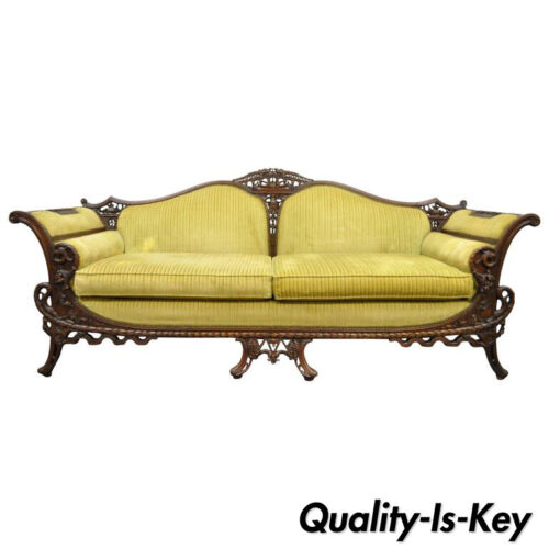 1930s Mahogany Chinese Chippendale Transitional Swan and Serpent Carved Sofa