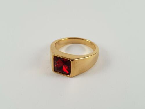 Gold toned Stainless Steel signet ring Ruby like Garnet biker pinky solitaire