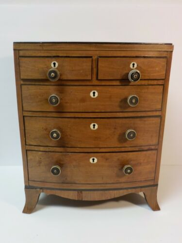 19th C. English Salesman Sample Miniature 5-Drawer Bowfront Chest